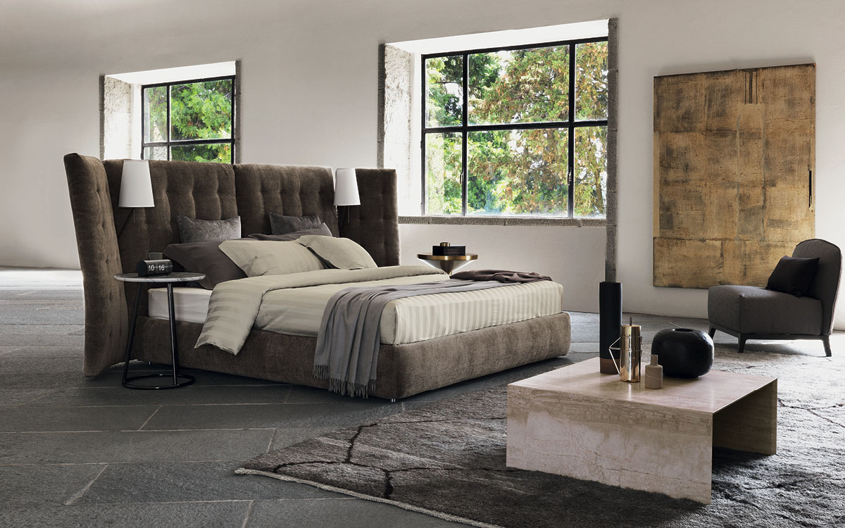 Flou bed angle with side panels quilted headboard for Occasioni letti flou