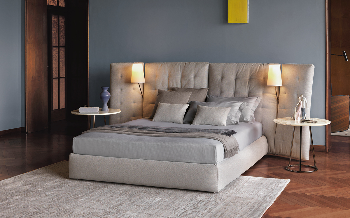 Flou Bed Angle With Side Panels Quilted Headboard