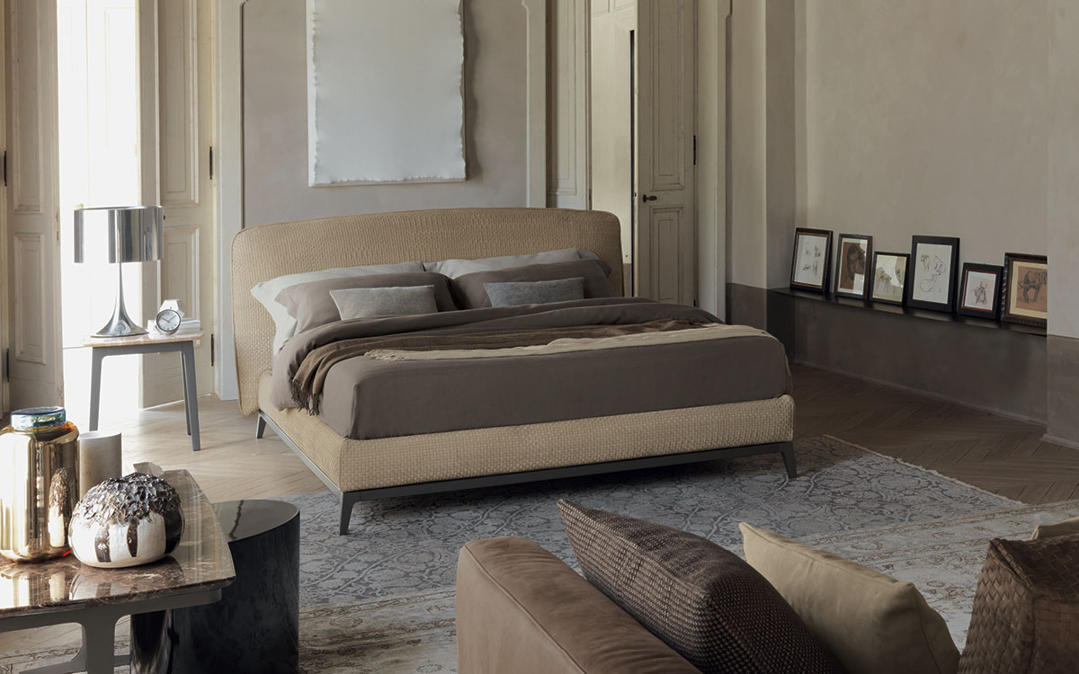 Flou bed olivier woven leather for Catalogo letti flou