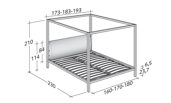 Adjustable slatted base for Letto 3d dwg